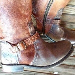 "Bed Stu ""Glaye"" Brown/Black/Taupe Tall Boots"